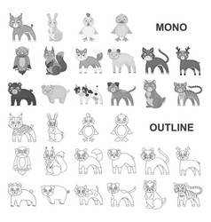 Toy animals monochrom icons in set collection for vector