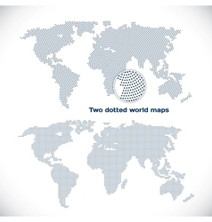 Two dotted world maps vector