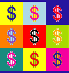 United states dollar sign pop-art style vector