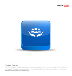 User in hand icon - 3d blue button vector