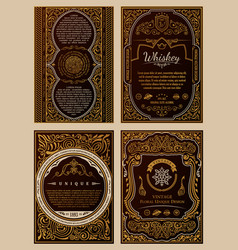 Vintage set retro cards template greeting card vector
