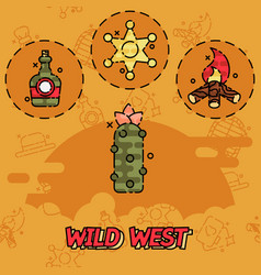 Wild west flat concept icons vector
