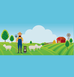 woolgrower with dog and sheep farm on hill vector image