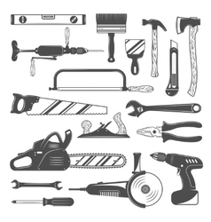 Work Tools Monochrome Set vector image