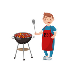 young man cooking meat on the barbecue grill vector image