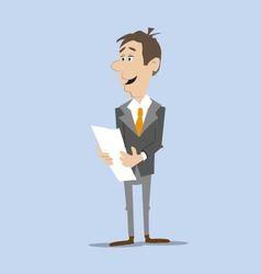 businessman reading document vector image