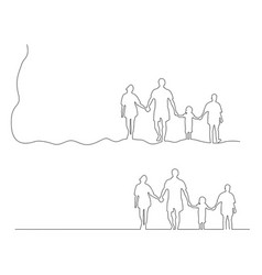 family holding hands together black vector image