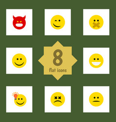Flat icon expression set of winking pouting hush vector