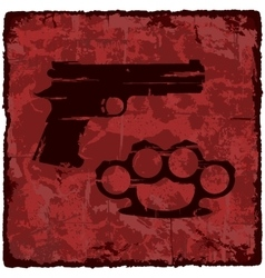 Grunge texture vintage background with gun vector image