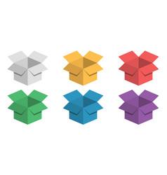 set 3d box festive colorful cardboard box vector image vector image