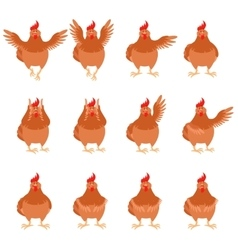 Set of brown hen flat icons vector image
