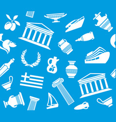 background with symbols of greece vector image