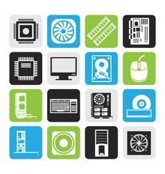 Black Computer performance and equipment icons vector image vector image