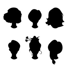 hairstyle silhouettewomangirlfemale hair vector image vector image