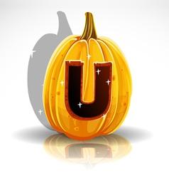 Happy Halloween font cut out pumpkin letter U vector image vector image