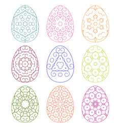 set of lacy colorful eggs collection of easter vector image
