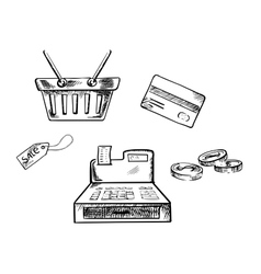 Sketches of shopping icons and symbols vector image