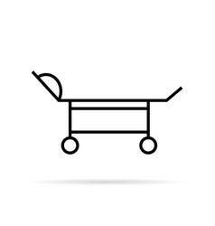 black thin line medical trolley vector image vector image