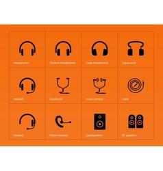 Headphones icons on orange background vector image vector image