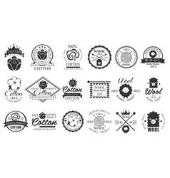 set of vintage cotton and wool emblems with hand vector image