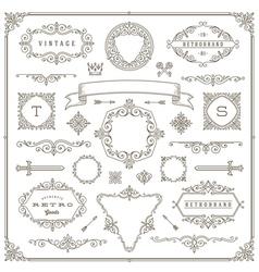 Set of vintage ornament design elements vector image vector image