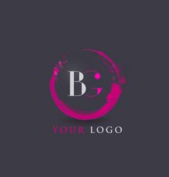 bg letter logo circular purple splash brush vector image vector image