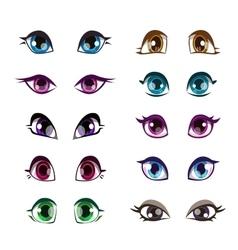 Cartoon girls eyes set vector image