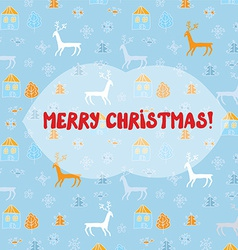 Christmas card with deers pattern vector image
