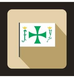 Columbus capitan flag icon flat style vector image