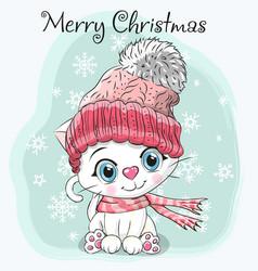 cute cartoon kitten in a hat vector image