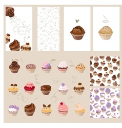 Detailed set with different muffins vector image vector image