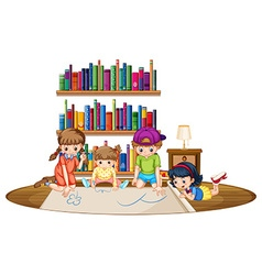 Four kids drawing picture in the room vector image vector image