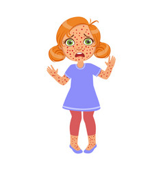 girl with red pimples rushsick kid feeling unwell vector image vector image