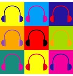 Headphones sign Pop-art style icons set vector image