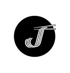 j letter noodle logo with chopstick vector image vector image
