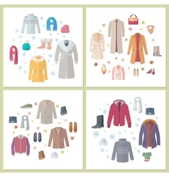 Outerwear mens and womens set of clothes accessory vector