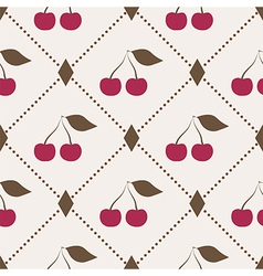 Seamless pattern with cherries and polka dot rhomb vector