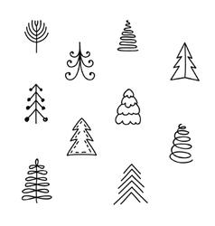 Set of hand drawn Christmas tree vector image