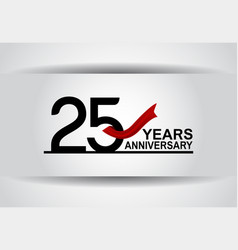 25 years anniversary design with red ribbon vector