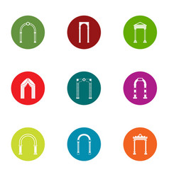 Arched vault icons set flat style vector