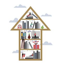 arrow up book shelf library vector image
