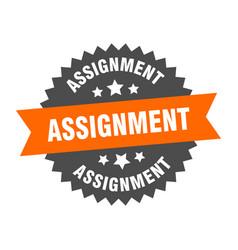 Assignment sign assignment circular band label vector