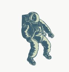 Astronaut floating in space scratchboard vector