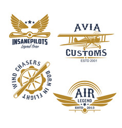 aviation and airplane retro styled icons vector image