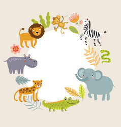 background for text with cute animals vector image