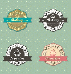 Bakery cupcakes retro style label on retro polka vector image