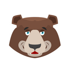 Bear happy emoji grizzly merry emotion face wild vector