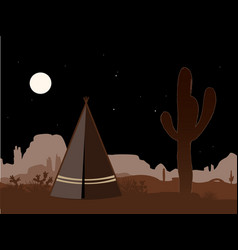 Beautiful amd mystic with indian tepee and vector