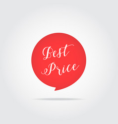 best price label handdrawn lettering red color vector image