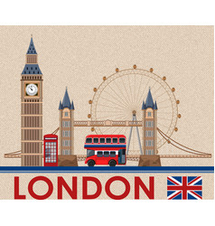 Big ben london on brown postcard paper vector